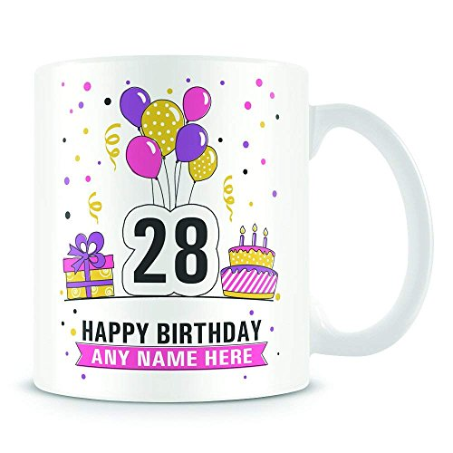 28th Birthday Mug For Women And Men Birthday Party Design Personalised Age 28 Birthday Gift