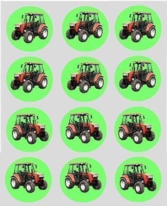 12 Rot Traktor Design Reispapier Fee Becher Kuchen 40mm Cake