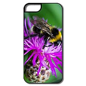 IPhone 5/5S Hard Plastic Cases, Bee Flower White/black Cover For IPhone 5