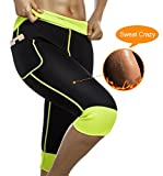 Womens Weight Loss Hot Neoprene Sauna Sweat Pants with Side Pocket Workout Body Shaper Thighs Belly Slimming Capris Leggings (Black Neoprene Pants, M (US 10))