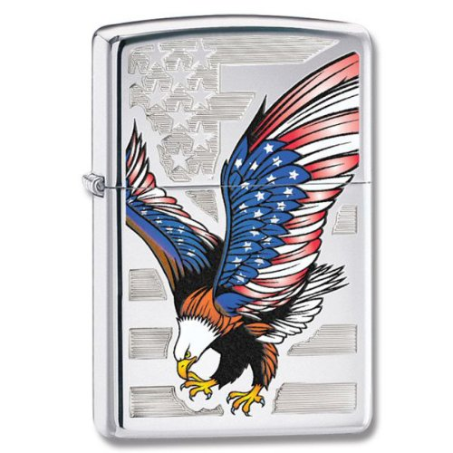 Zippo Hohe Polnisch Chrom, Amerikanische Flagge w/Bald Eagle, High Polish Chrome, Amerikanische Flagge w/Bald EAGL