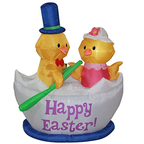 Impact Canopy Easter Inflatable Decoration, Outdoor Holiday Inflatable Easter Chicks and Boat Yard Decorations, 5 Feet Tall