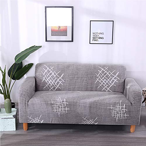 Lamberia Printed Sofa Cover Stretch Couch Cover Sofa Slipcovers for Couches and Loveseats with One Pillow Case (Gray Mark, Sofa-3 Seater) (With For Couch Pillows Slipcover)