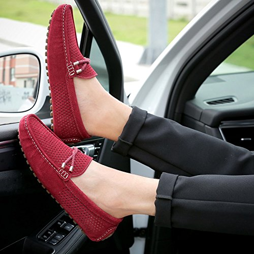 Abby A007 Mens Active Boat Shoes Breathable Holes Pods Sole Leisure Non Skid Sports Lissom Driving Walking Fashion Plain Toe Energetic Loafers Comfy Slip On Red FE2oXRpN