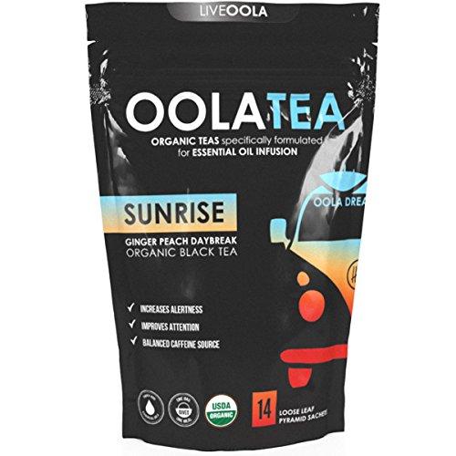Oola Tea - SUNRISE (Ginger Peach Daybreak) 14 Count | Organic Black Tea | Increases Alertness | Balanced Caffeine Source