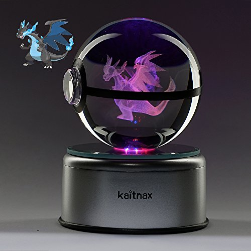 - 3D Cool Laser Etching Crystal Ball Night Light Gift Lamp for Kids Children Christmas (Charizard)
