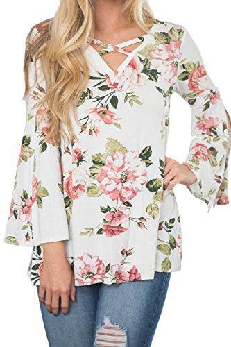 Las Mujeres De Encaje Con Cuello En V Manga Larga Llamarada De Hendidura Floral Print T - Shirt Top White
