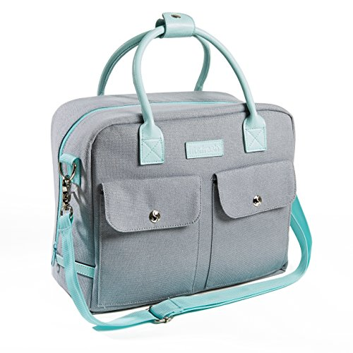 Fit & Fresh Margene Messenger Style Lunch Bag for Women, Insulated Tote for Travel, Work, School, Gray with Aqua Trim - Aqua Womens Bag