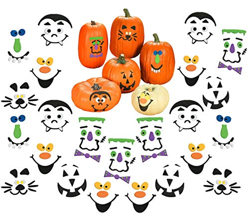 Halloween Pumpkin Decorating Crafts Kit, Bulk Pack to Decorate 50 Pumpkins, Great Kids Party Favors Decoration for Boys and Girls, By 4E's Novelty