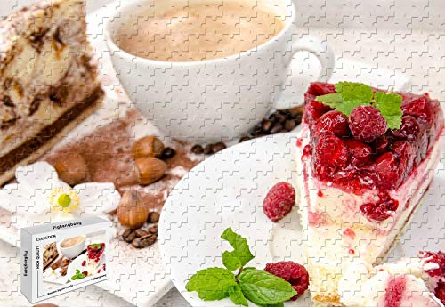 1500 Piece Jigsaw Puzzle - Cheesecake Raspberry Mint Cream Coffee Hazelnut Premium Basswood Materials Bright Color,34.2 X 22.4 - Cheesecake Mint