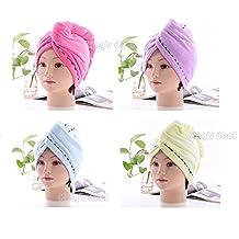 King's deal 4Packs Hair Turban Microfiber Hair Drying Towel Bath Head Wrap Turban Quick Dry Hat Cap NEW (color/lace)
