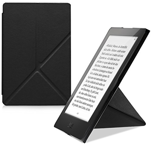 kwmobile Origami Case Compatible with Kobo Aura H2O Edition 2 - Ultra Slim Fit PU Leather Cover with Stand - Dark Blue