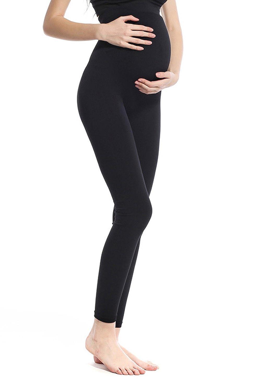 Franato Femme Taille Haute Stretch Maternité Leggings de Grossesse DDK125452B-BK-M