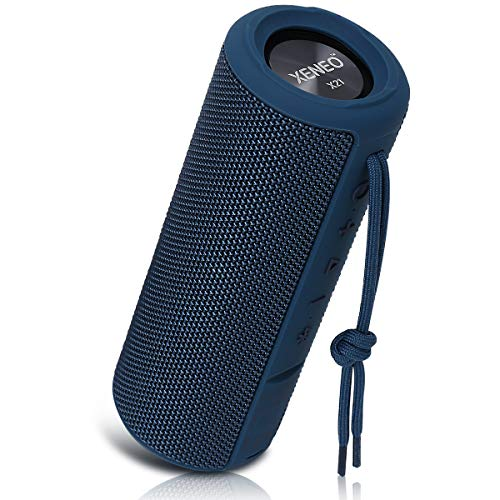 Xeneo X21 Portable Outdoor Wireless Bluetooth Speaker Waterproof with FM Radio, Micro SD Card Slot, AUX, TWS for Shower - Hard Travel Case Included(Blue) (Bicycle Radio Fm)