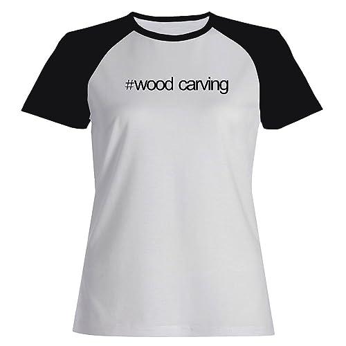 Idakoos Hashtag Wood Carving - Hobby - Maglietta Raglan Donna