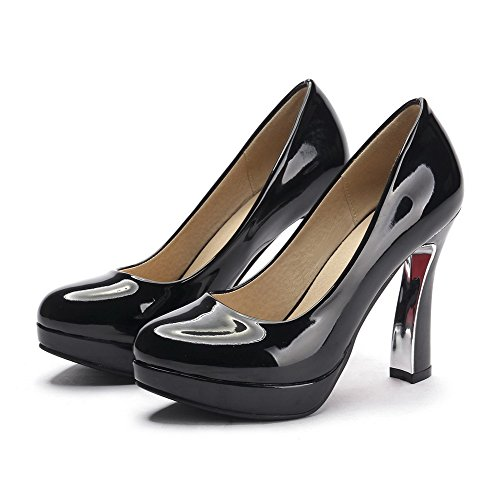 Amoonyfashion Womens Pull-on Pu Ronde Dichte Teen Hoge Hakken Stevige Pumps-schoenen Zwart