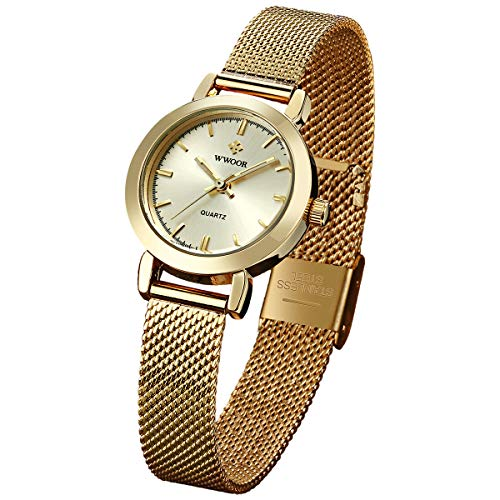 WWOOR Women's Watch Fashion Analog Quartz Watches with Stainless Steel Mesh Band Gold Waterproof Wristwatch Casual Gift Watch Ladies (Gold)