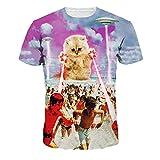 ColorFino Unisex Funny 3D Printing Alien Cat T-shirt Hipster Clothing,Cat & Spaceship,Medium