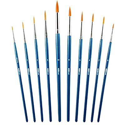 Watercolor Brushes - Round Pointed Tip Paint Brushes for Fine Painting and Detailing - Acrylic Watercolor Oil Ink and Facepaint - Set of 10 Quality Anti-Shedding Nylon Brushes with Secure Ferrules
