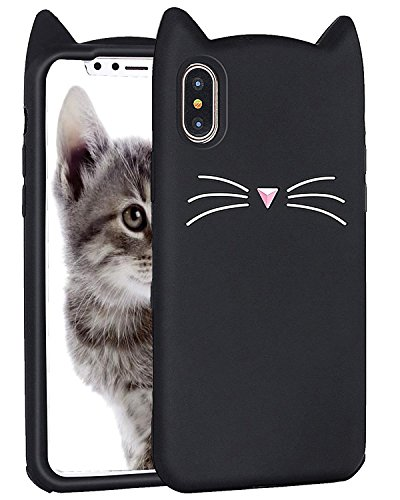 iPhone X Case, Miniko(TM) Fashion Cute Kawaii Funny 3D Black MEOW Party Cat Kitty Whiskers Dropproof Protective Soft Rubber Case Skin for Apple iPhone X 2017
