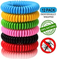 Mosquito Repellent Bracelets (12 Pack Individually Wrapped) Natural and Waterproof Wrist Bands for Adults, Kid