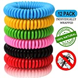 12 Pack Mosquito Repellent Bracelet Band for Kids, Adults & Pets-100% Natural DEET-Free, Non Toxic, Waterproof Safe Travel Anti Insect Bands for Outdoor & Indoor-350Hrs of Protection
