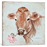 ART DEB13-1PC3-26x26 French Farmhouse Series: Cow with Rose Gallery Wrapped Canvas Art Print by Debi Coules, 26'' X 0.75'' X 26''