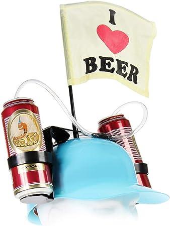 MostroMania Casco per Birre con Cannuccia Gadget da Spiaggia Accessori per Feste Cappello Portabirra Regali Originali Elmetto Rosso per Lattine