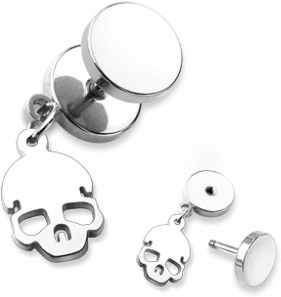Covet Jewelry Skull Dangle 16G Fake Plug 316L Surgical Steel