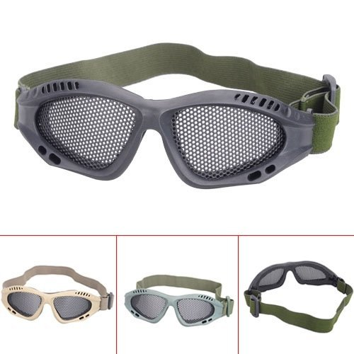 Outdoor Sports Small Goggles Protective Glasses with Steel Mesh - Army Green/Khaki/Black