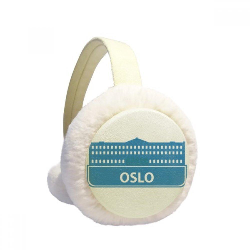 Oslo Norway Blue Landmark Pattern Winter Earmuffs Ear Warmers Faux Fur Foldable Plush Outdoor Gift