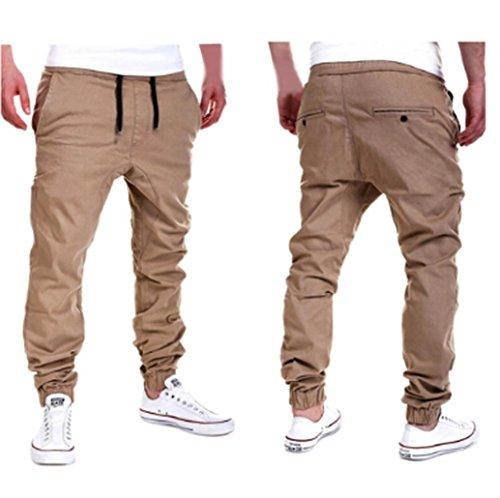 Gillberry Men Summer Fashion Solid tideway leisure Clothing casual jogger pants (XXL=Asian XXXL, Khaki)