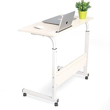 DlandHome 80 * 40 cm Ajustable Mesa de Ordenador Portatil con Ruedas Sofá Mesa Mesas de Centro,con Ranura para Tableta, Arce: Amazon.es: Hogar