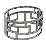 Open Work Geometric Patterned Hematite-Finish Hinged Bangle Bracelet, 1 3/8 Inches Wide, High Polish