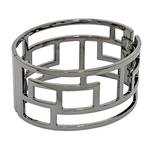 "Wide Gunmetal-Gray Shiny Hematite-Tone Open Work Geometric Grid Oval Shaped Bangle Bracelet Hinged 1 3/8"" - Bracelet Gunmetal Bangle"