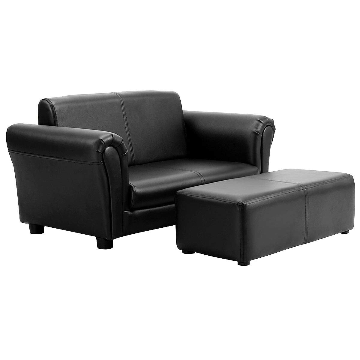 32.5'' Black Multi Functional Kids Sofa Children Couch Lounge Armrest Chair Furniture Seat w/ 21'' Ottoman with Ebook