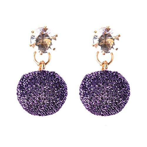 Hunputa Cute Handmade Women Girl Round Ball Earring Dangler Eardrop Jewelry (Purple)
