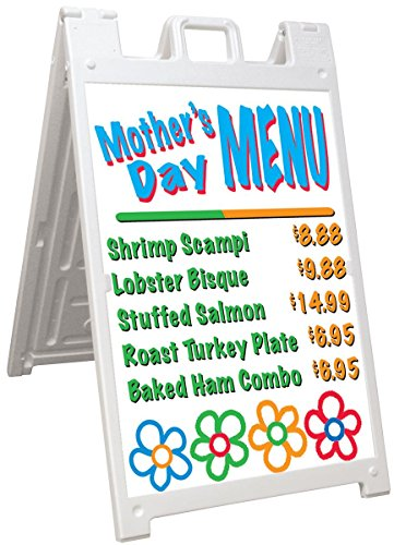 Displays2go Polyethylene Plastic A-Frame Sidewalk Sign, for 24 x 36 Inches Inserts, White (BSWP2436WT)