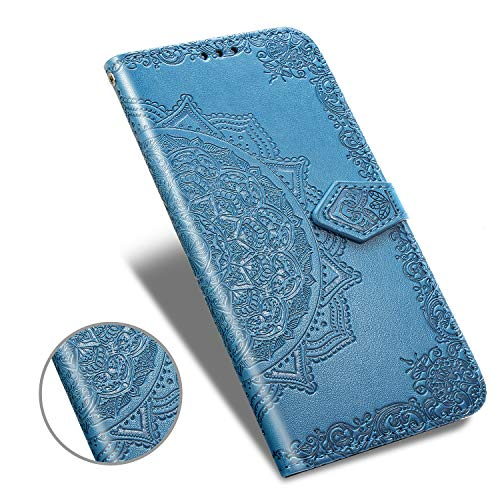 for Moto G7 Power Case,Moto G7 Supra Wallet Case,Luxury Henna Mandala Floral Flower PU Leather Flip Folio Phone Case Cover with Card Slot Holder Kickstand for Motorola Moto G7 Power,Blue