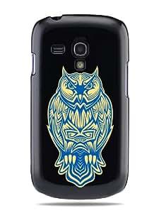 "GRÜV Case Design ""Poderoso Tatuaje de Búho Tribal"" - Diseñador Mejor Calidad de Impresión en Funda Carcasa Rigida Negra - para Samsung Galaxy S III mini i8190"