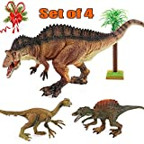 "BooTaa Large Dinosaur Toys Set, 12"" Acrocanthosaurus Dino Figures, Educational Gift for 3 4 5 6 7 8 Year Old Boys Kids Boys Toldders, Dino Theme Birthday Party Game Dino Toy, Pack of 4"