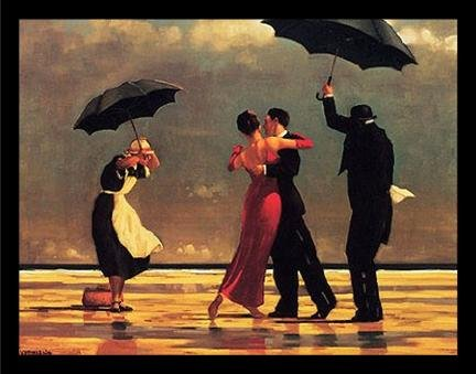 - Buyartforless Framed Oversized - The Singing Butler by Jack Vettriano 34x26.75 Art Print Romantic Dancing with Umbrellas
