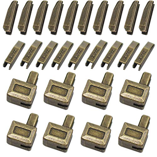 YaHoGa 20 Sets #5 Metal Zipper Latch Slider Retainer Insertion Pin Zipper Bottom Zipper Stopper for Metal Zipper Repair (Anti-Brass) ()