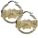 Personalized Gold filled Hoop Named Bamboo Earrings 2.0'' Custom Made with Any Names