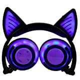 LED Cat Ear Headphones, Iuhan Flashing Glowing Cosplay Fancy Cat Headphones Foldable Over-Ear Gaming Headsets Earphone with LED Flash light for iPhone,Android Mobile Phone,Macbook and MP4 (Purple)