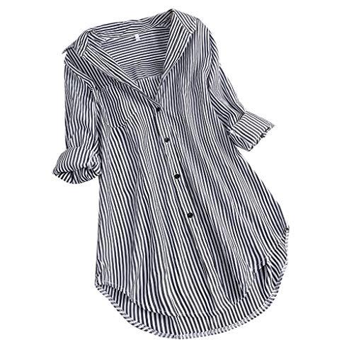 TUSANG Women Shirt Chic Stripe Long Sleeve Turn-Down Collar Button Loose Top Shirts Blouse Loose Fit Comfy Tunic(Black,US-18/CN-5XL) ()