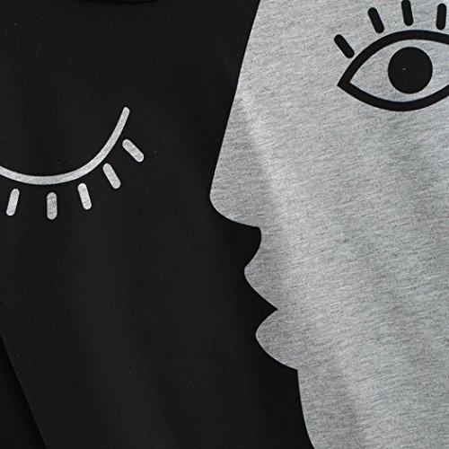Face Longues Noir Sweatshirt Sweatshirts Femme Et Manches Mosaïque Ashop Baskets Hiver Blouse Tops Blanc Gris Automne Décontracté Printemps wO1Hwq