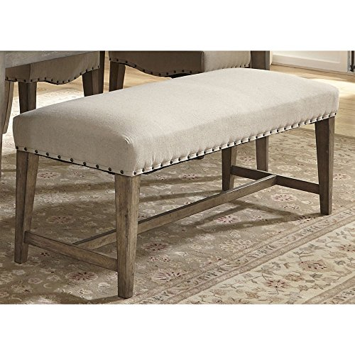 Transitional Dining Bench with Brownstone Caramel Finish, Heavy Tapered Legs, Made from Poplar Solids and Birch Veneers with Linen Upholstery, Perfect Balance Between Traditional and Trendy (Dinette Set Transitional)