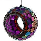 Sunnydaze al Aire Libre Fly a través del alimentador de Aves Silvestres, único Colgante Redonda diseño de Vidrio de Mosaico, 6 Pulgadas