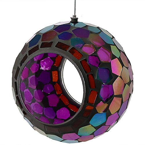Sunnydaze Outdoor Fly Through Wild Bird Feeder, Unique Hanging Round Mosaic Glass Design, 6 Inch